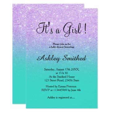lavender glitter turquoise ombre girl baby shower