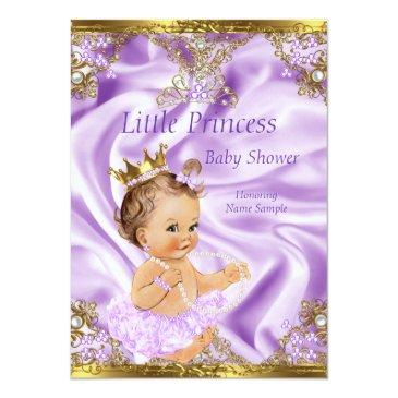 Small Lavender Gold Princess Baby Shower Brunette Girl Invitations Front View
