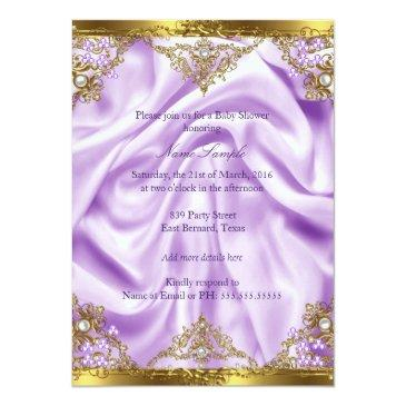 Small Lavender Gold Princess Baby Shower Ethnic Girl Invitations Back View