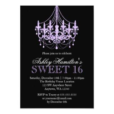 Small Lavender Purple Faux Glitter Chandelier Sweet 16 Invitations Front View