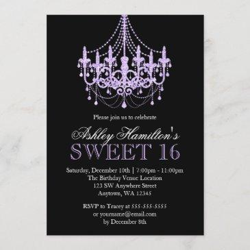lavender purple faux glitter chandelier sweet 16 invitation