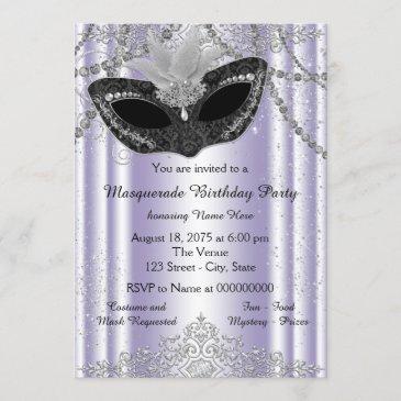 lavender purple masquerade party invitation