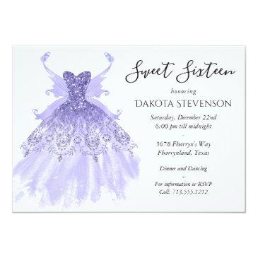Small Lavender Purple Pixie Wing Gown   Sweet 16 Party Invitation Front View