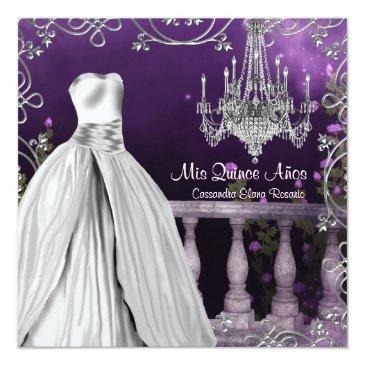 Small Lavender Purple Roses Chandelier Quinceanera Invitation Front View