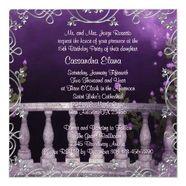 Small Lavender Purple Roses Chandelier Quinceanera Back View