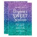 lavender purple & teal aqua green sparkly sweet 16 invitation