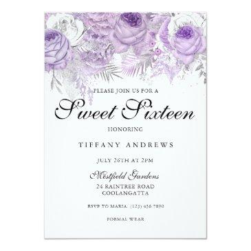 Small Lavender Purple White Silver Flowers Sweet 16 Invitations Front View