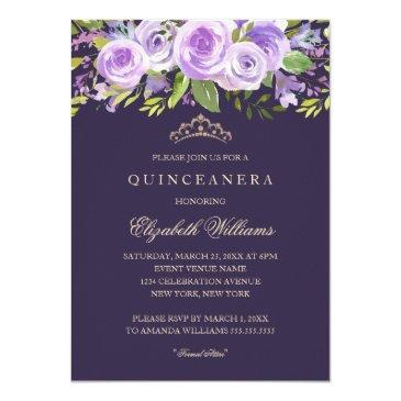 lavender rose floral quinceanera invitations