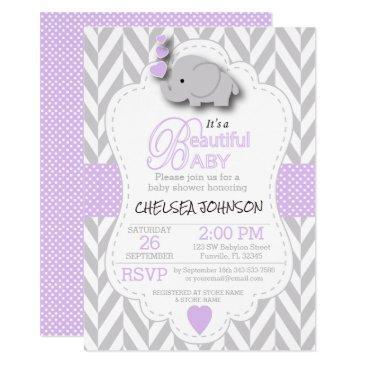 lavender, white gray elephant  baby shower invitation