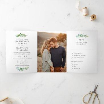 leafy watercolor and faux rose gold wedding photo tri-fold invitation