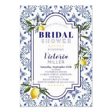 lemon and navy watercolor bridal shower invitation