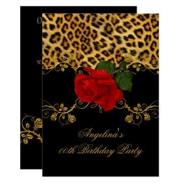 leopard roses red black gold birthday party 2 invitations