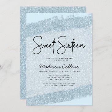 light blue brush glitter sweet 16 invitation