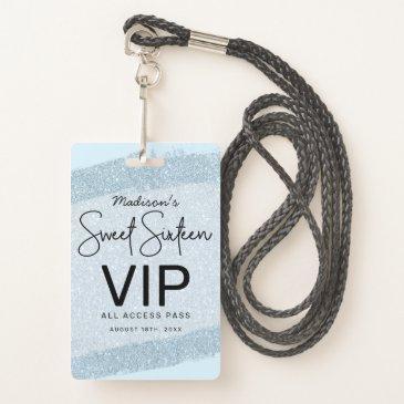 light blue brush glitter sweet 16 invitation vip badge