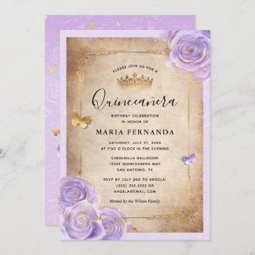 light purple and gold rose elegant quinceanera invitation