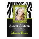 lime green zebra - photo - sweet 16 invitations