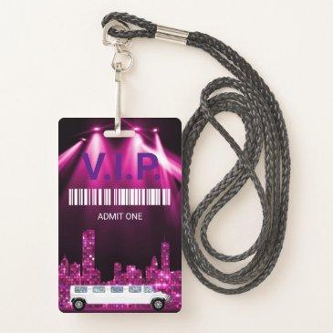 limo pass party pass, vip, invitation, glitter badge