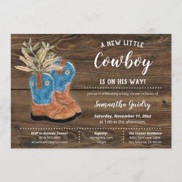 little cowboy bootie brown wood baby shower invitation