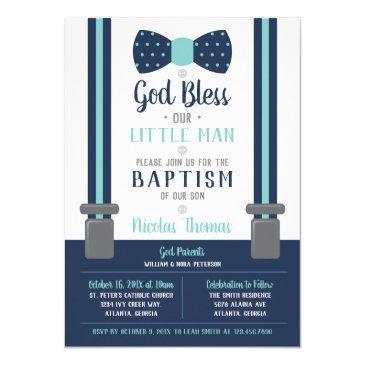 little man baptism invitation, navy, turquoise invitation