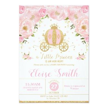 Small Little Princess Baby Shower Carriage Pink Floral Invitation Front View