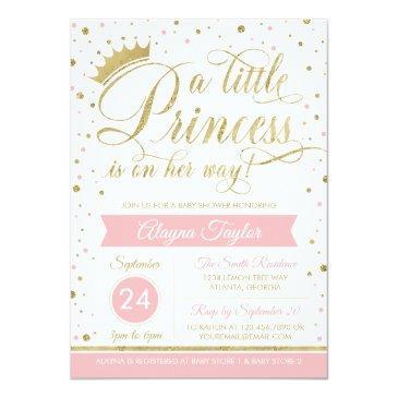 Small Little Princess Baby Shower Invite, Faux Glitter Invitation Front View