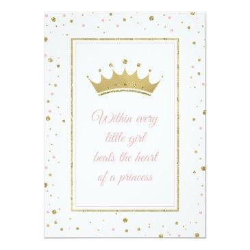 Small Little Princess Baby Shower Invite, Faux Glitter Invitation Back View