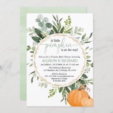 little pumpkin fall couples greenery baby shower invitation