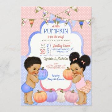 little pumpkin gender reveal medium puffs invitation