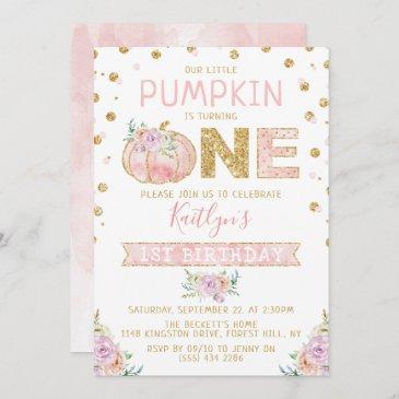 little pumpkin girls 1st birthday invitation