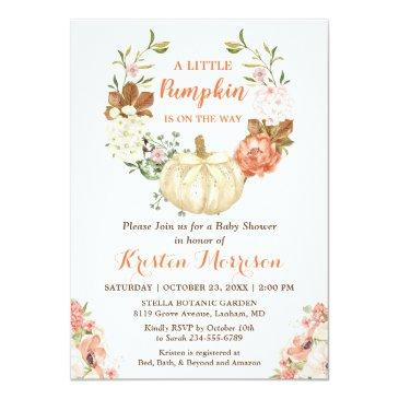 Small Little Pumpkin Gold Glitters Fall Baby Shower Invitation Front View