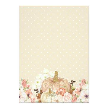 Small Little Pumpkin Gold Glitters Fall Baby Shower Invitation Back View