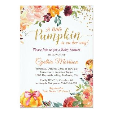 Small Little Pumpkin On Her Way Fall Floral Baby Shower Invitation Front View