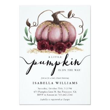 Small Little Pumpkin Rustic Pink Gold Baby Shower Invitation Front View
