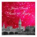 london uk skyline hot pink red heart sweet 16 invitation