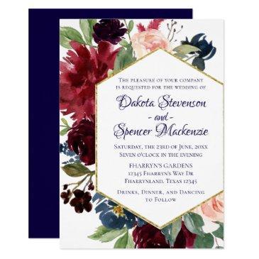 love bloom | rustic navy burgundy wedding invitation