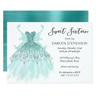 luxe fairy wing gown | aqua mint green sweet 16 invitation