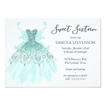 Small Luxe Fairy Wing Gown | Aqua Mint Green Sweet 16 Invitation Front View