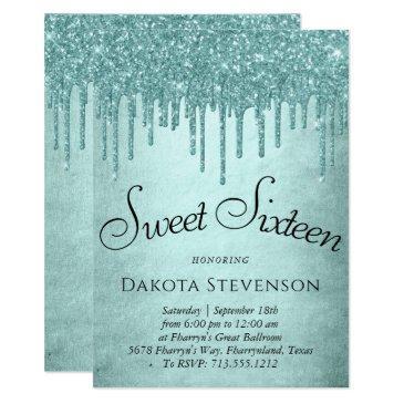 luxurious drip sweet 16   glitter pour script invitation