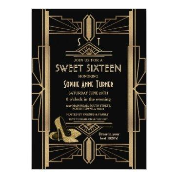 Small Luxury 20's Great Gatsby Gold Art Deco Sweet 16 Invitation Front View