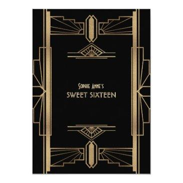 Small Luxury 20's Great Gatsby Gold Art Deco Sweet 16 Invitation Back View