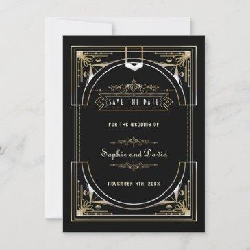 luxury gold black great gatsby 20s style wedding save the date