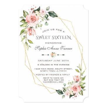 luxury pink blush floral gold frame sweet sixteen invitation