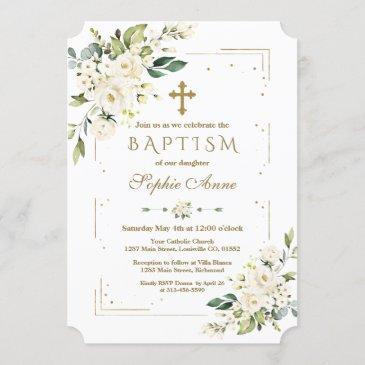 luxury white flowers gold glitter frame baptism invitation