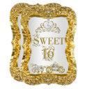 magical tiara princess sweet 16 gold white invite