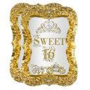 magical tiara princess sweet 16 gold white invite