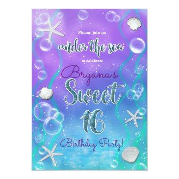 Small Magical Under The Sea Sweet 16 16th Birthday Party Invitations Front View