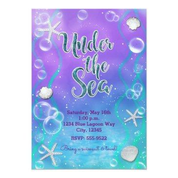 Small Magical Under The Sea Sweet 16 16th Birthday Party Invitations Back View