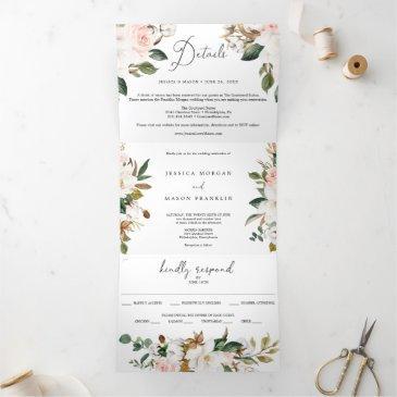 magnolia cotton wedding tri-fold invitations rsvp