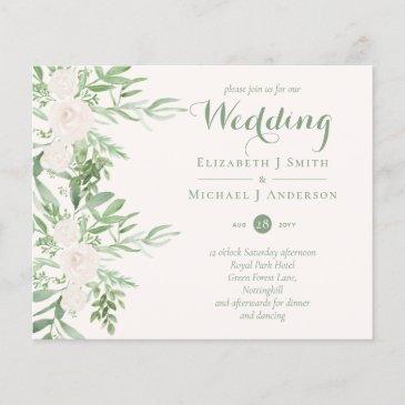 magnolia sage green floral wedding invites budget