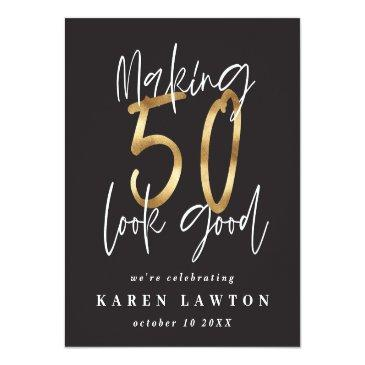Small Making 50 Look Good Gold Birthday Celebration Wine Label Front View